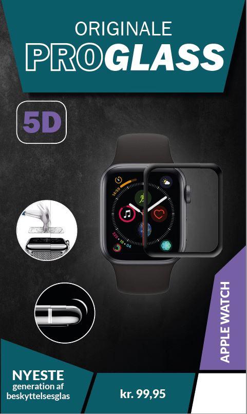 ProGlass 5D beskyttelseglas til Apple Watch, som går helt ud til kanten af urets skærm
