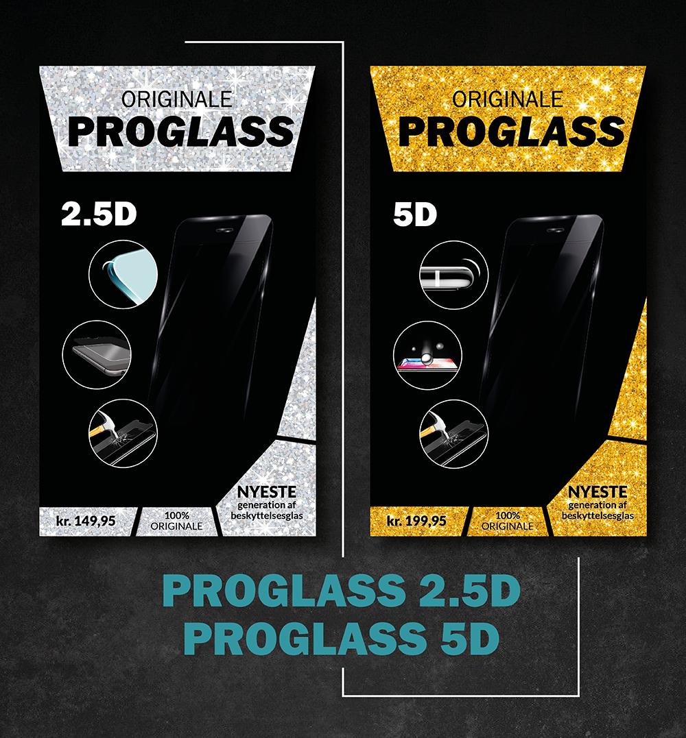 Beskrivelse af ProGlass beskyttelsesglas til smartphones i to forskellige varianter. en sølvpakke i 2.5D beskyttelse, og en guldpakke i 5D beskyttelse