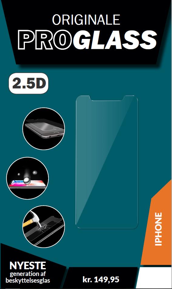 ProGlass 2.5D beskyttelseglas til iPhone, som stopper før kanten af mobilens skærm