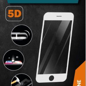 ProGlass 5D beskyttelseglas til iPhone i farven hvid, som går helt ud til kanten af mobilens skærm