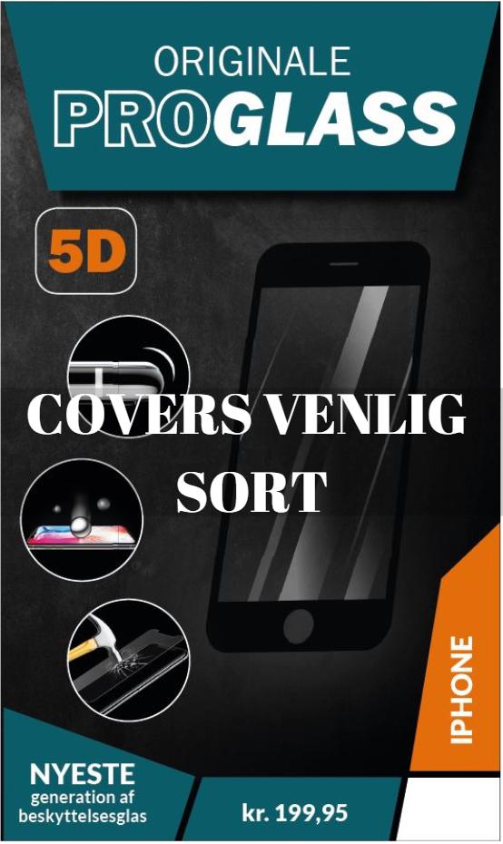 ProGlass 5D Cover Venlig beskyttelseglas til iPhone i farven sort, som stopper millimeter fra kanten