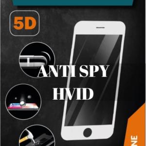 ProGlass 5D Anti Spy Hvid beskyttelseglas til iPhone i farven hvid, som går helt ud kanten af mobilen